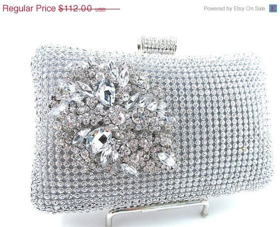 ON SALE Silver Rhinestone Crystal Brooch Floral by bloomsnbrides, $100.80