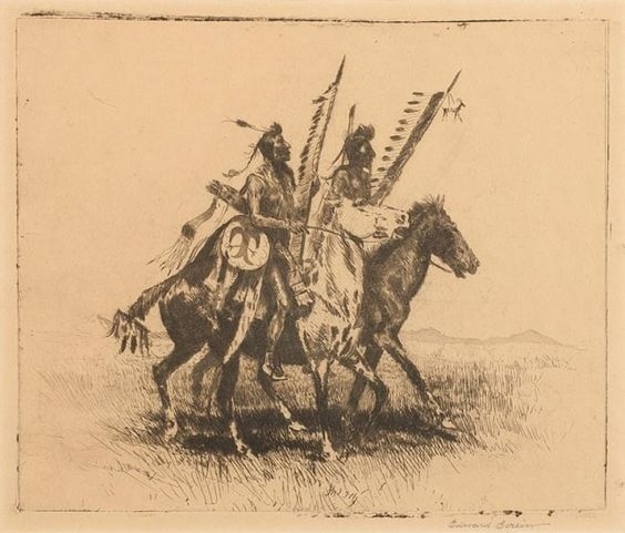 "Art : Edward Borein, Cowboy Artist, Western Artist, ""Going to the Dance"", #335"