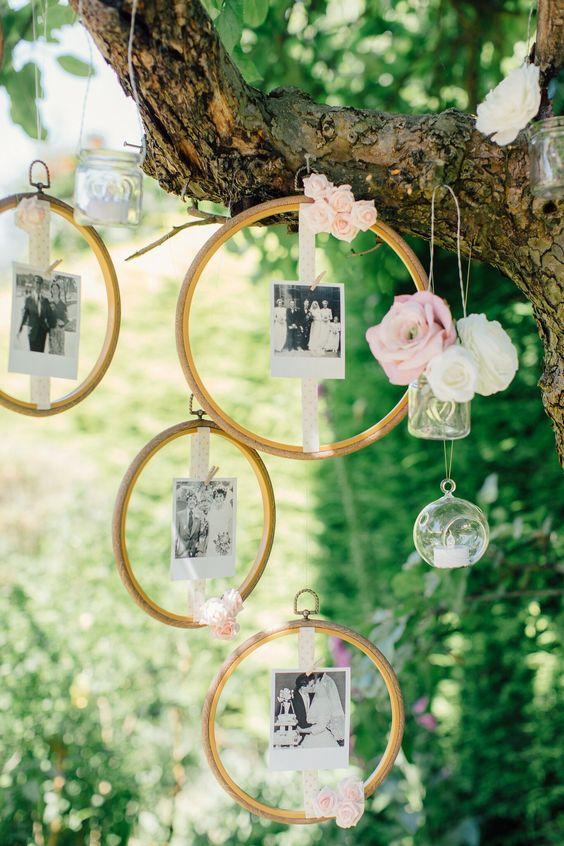 Simple DIY Wedding Decoration Idea With Hanging Photos