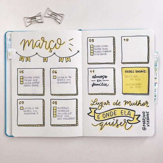 A foto que eu postei do meu Bullet Journal semana passada sumiu! Então vou colocar aqui novamente pra vocês usarem de referência, . O layout ficou assim: 1. Escolhi fazer um esquema simples e minimalista pra ficar prático. 2. Usei a cor amarela pra deixar essa semana mais feliz! 3. Aumentei bastante o espaço para cada dia da semana porque quis mostrar uma forma diferente de organização. Gostaram??  #BulletJournal #PrimeiroRabiscoBujo