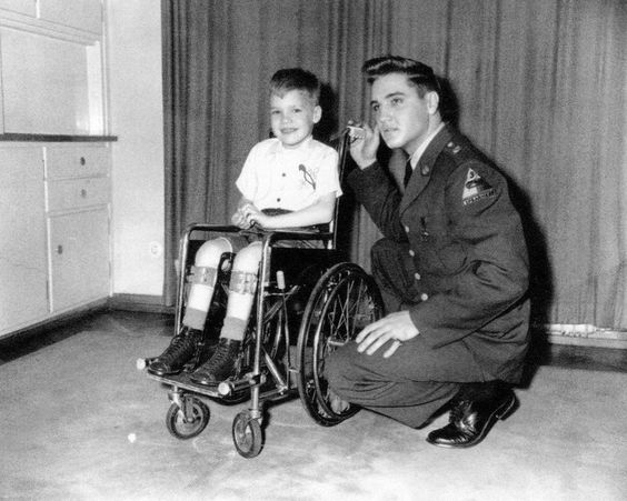 December, 1958 FRANKFURT │ GERMANY Here we have Elvis visiting ROBERT MARQUETTE in Frankfurt. Robert was a six year old March Of Dimes poster child suffering from polio. Elvis would pay the Marquette family a visit on at least three occasions. The correct dates for these visits is still a bit of a mystery, but it is generally assumed that the first photoshoot took place in December of 1958.