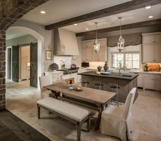 Property Brothers Two Tone Kitchen Cabinets: Antique White Cabinets, Exposed Beams, Contrasting