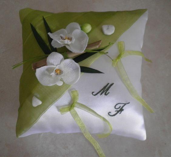 coussin alliances ZEN anis blanc orchidées bambou