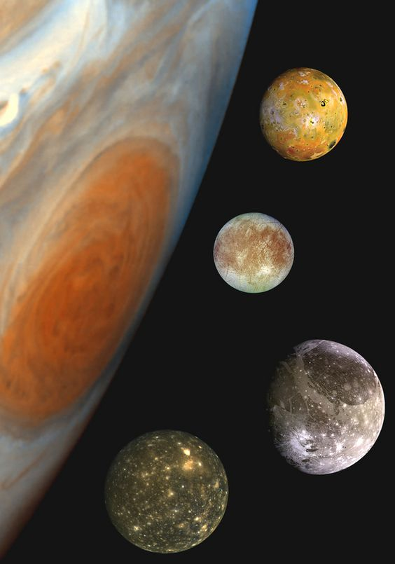 Jupiter has 64 moons, and from top to bottom, the moons shown are Io, Europa, Ganymede and Callisto.