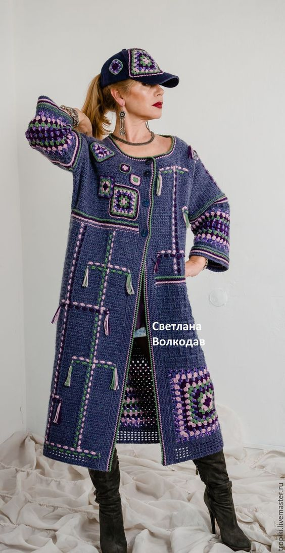 "Buy or order a coat knitted author 'Starry Sky' in the online store at the Fair of the Masters.  Copyright coat handmade from collection ""Colors of Crimea (see. Blog).  By creating this coat represented Crimean summer night sky, when it seems that the stars can be touched by hand, Milky Way, constellations and bright stars from July .... The coat is decorated with a combination of different sizes 'granny squares', colored stripes, the asymmetry in the pattern arrangement , trendy this sezone.Kepka tissue ...:"