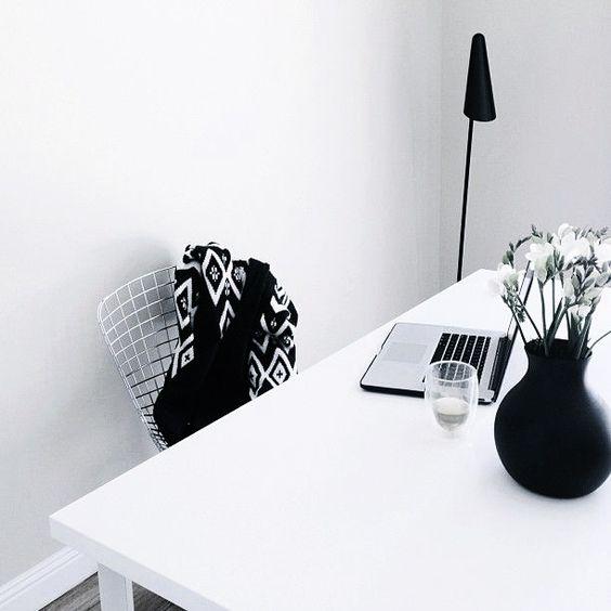 Via Tiny Wild Things | Menu Vase | Ikea Stockholm Lamp | Bertoia Chair | Black and White