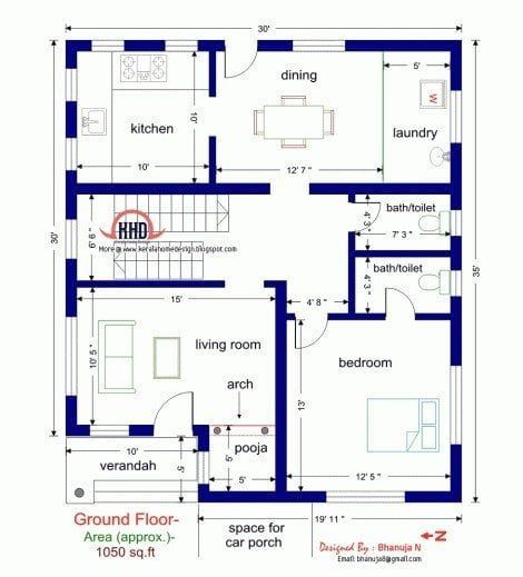 Single Bedroom House Plans Indian Style Small Modern House Plans Simple House Plans Duplex House Plans