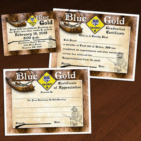 Custom Cub Scout Blue \ Gold (or Graduation) Invitation - graduation certificate