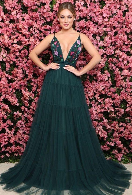 vestido de formatura elegante flores