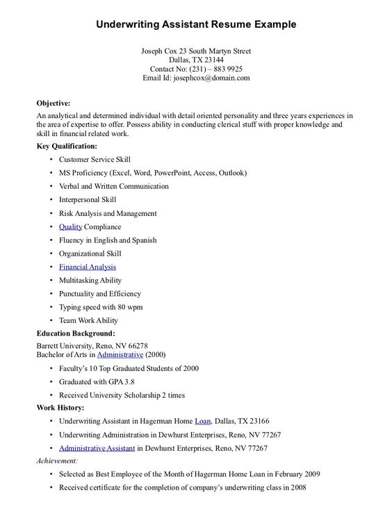 Underwriting Assistant Resume - Underwriting Assistant Resume we - language proficiency resume