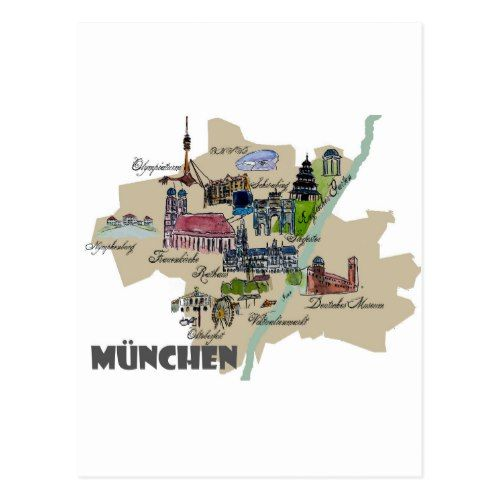 Munich Map Overview Postcard Zazzle Com Postcard Map Painting Birds Eye View Map