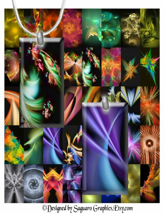 TOPAZ LAB Dominoes  Fractal Flames 53  1x2 inch by SaguaroGraphics, $3.90