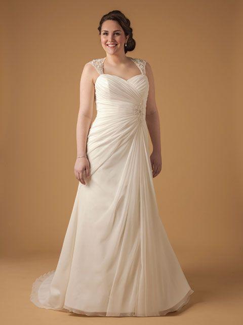 Vestido de novia línea A, tirantes anchos que permiten un trabajo bonito en espalda.
