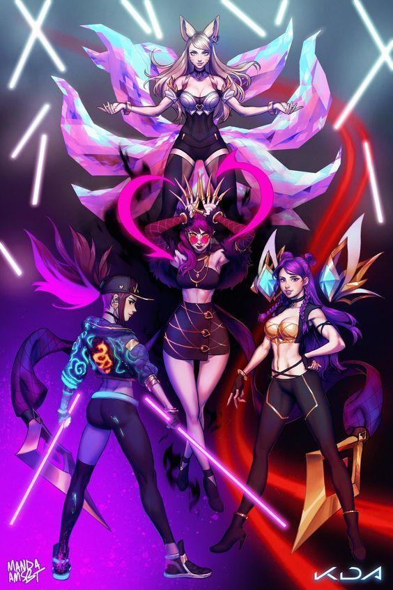 League Of Legends Kda Wallpaper Leagueoflegendskda Cosplayclass Anime Personagens De Anime Evelynn League Of Legends Desenhos De Casais Anime
