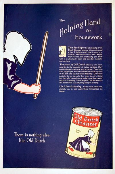 1923 Old Dutch Cleanser vintage ad. The helping hand for housework. There is nothing else like Old Dutch. Use it for all cleaning, floors, walls, sinks, tubs, in fact everywhere throughout the house. Chases Dirt.