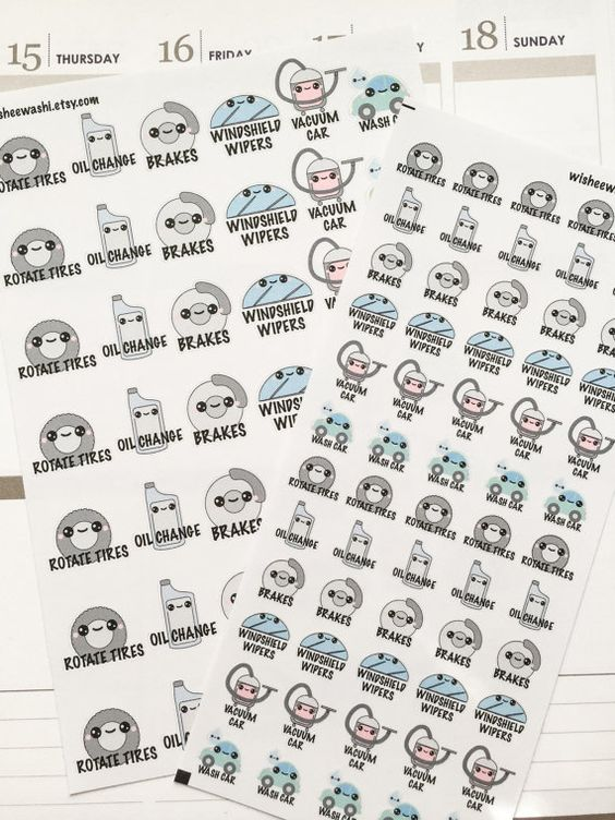Mini Kawaii Car Maintenance Stickers - This sheet comes with 60 Car Maintenance Stickers to remind you of various tasks such as rotating your tires,