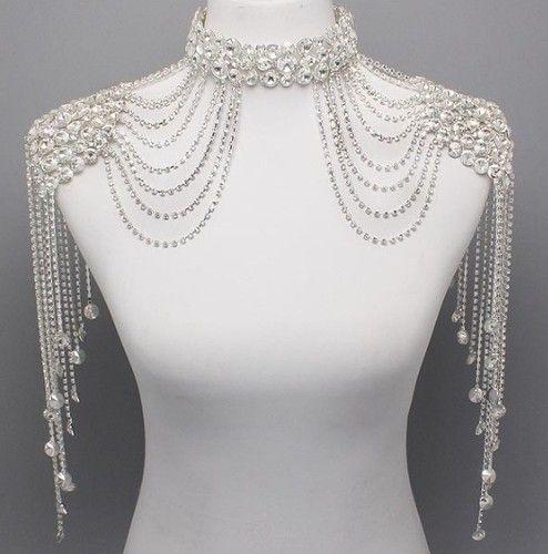 Bridal couture steampunk glamour crystal shoulder neck for Choker neck wedding dress