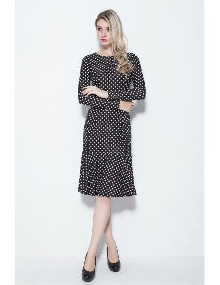Tea Length Black with White Dotted Modest Dresses with Long Sleeves