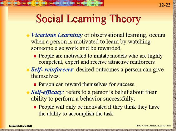 learning theory psychology Classical conditioning and operant conditioning describe how we learn from direct experience however, humans usually learn by observing others this is called social learningsocial learning is the most common way that people learn.
