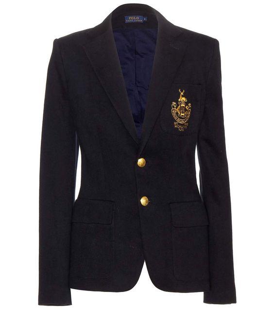 Custom embroidered navy blazer