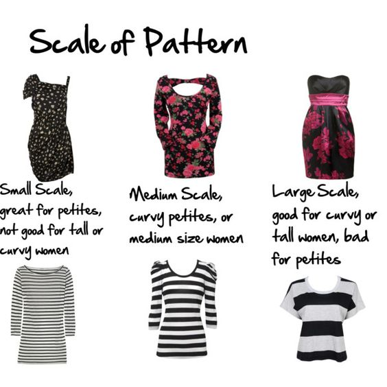 Scale of pattern, basically the smaller you are the smaller the print...: