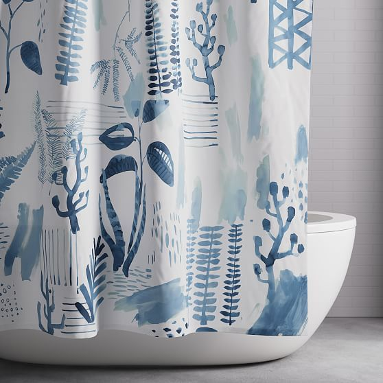 Scandi Garden Shower Curtain Midnight With Images Garden