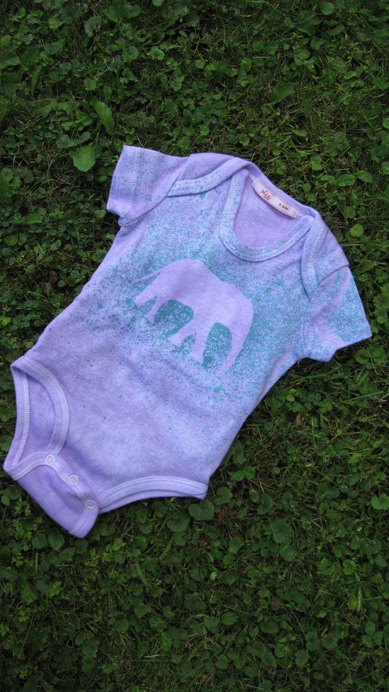 Light purple elephant onesie with purple/teal splatter  - Peekapoo back-