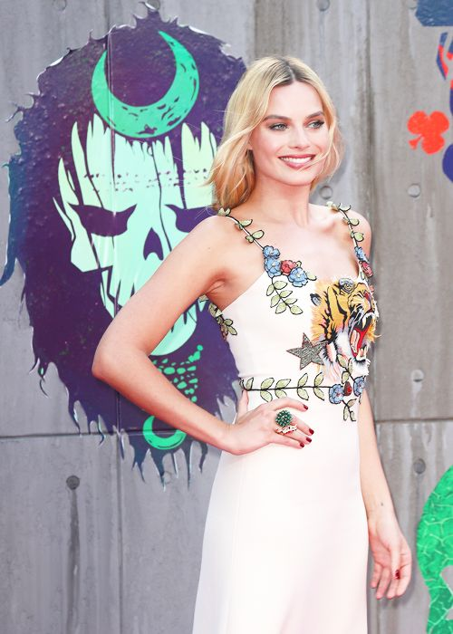 Margot Robbie attends the European Premiere of 'Suicide Squad' in London, England.