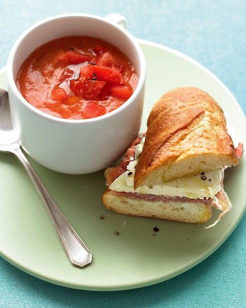 Tomato Gazpacho with Prosciutto Mozzarella Sandwiches - a delicious soup-and-sandwich combo.