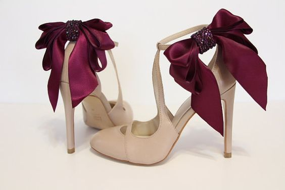 Purple plum Bow Shoes clips Big satin Purple by MyDivineBoutique