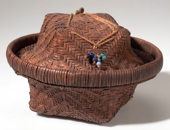 Africa | Basket with lid from the Kete people of Ndombe, Belgian Congo | Plant fiber, glass beads, wood | ca. 1910