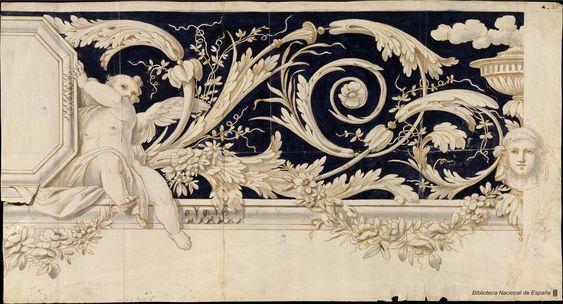 [Friso decorativo]. Anónimo español s. XVIII — Dibujo — 1700-1799?
