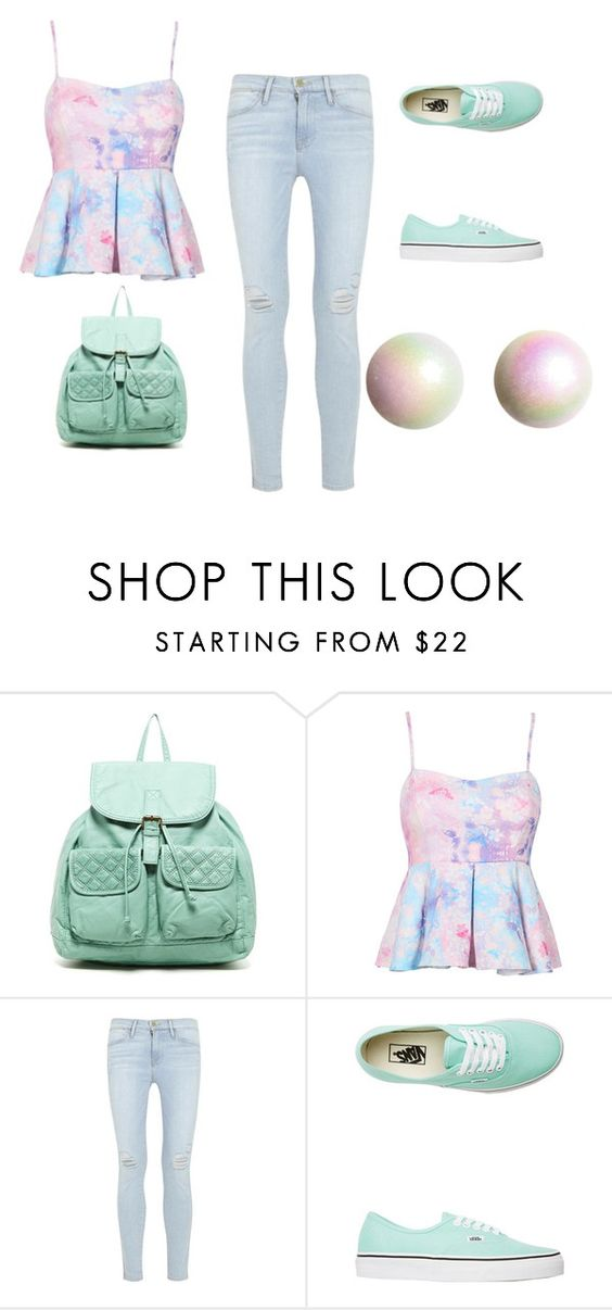 """Untitled #39"" by gigglesanddimples ❤ liked on Polyvore featuring T-shirt & Jeans, Frame Denim, Vans and H&M"