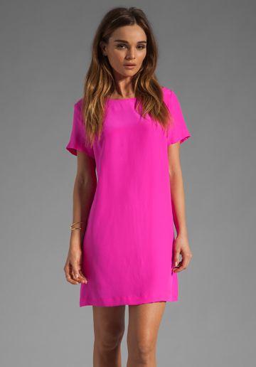 Silk Short Sleeve Sheath Dress - Sheath dresses- Shorts and Colors