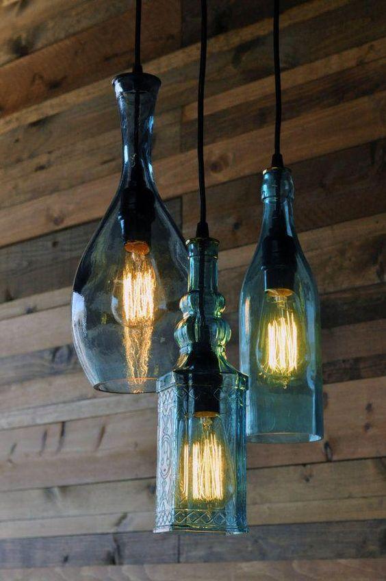 Iluminación rustica con botellas