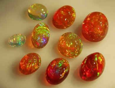 Mexican fire opals with some brilliant play of colour