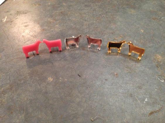 Bling a GoGo - Acrylic Cow Stud Earrings  , $12.00 (http://www.bling-a-gogo.com/acylic-cow-stud-earrings/)