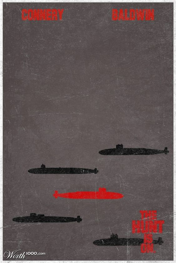 minimalistic movie posters:   the hunt for red october