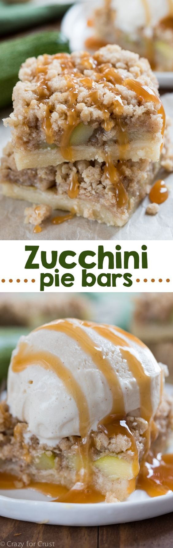 Zucchini Pie Bars - they taste like apple pie! A shortbread crust with a crumble topping, the perfect pie bar recipe!