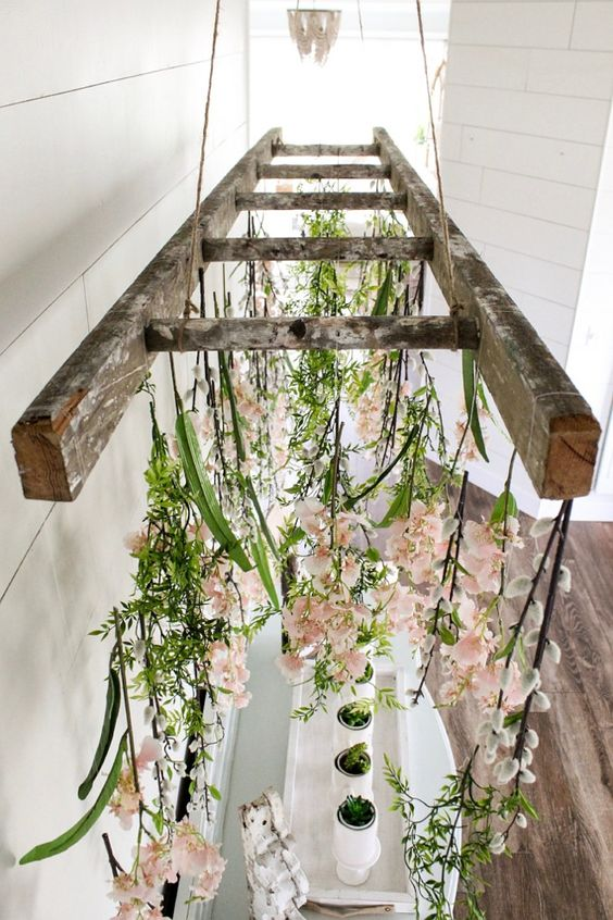 DIY Tutorial. DIY Tutorial DIY hanging faux flowers using vintage ladder and threat. DIY Tutorial. DIY Tutorial. DIY Tutorial #DIY #Tutorial #DIYTutorial Home Bunch Beautiful Homes of Instagram @cottonstem