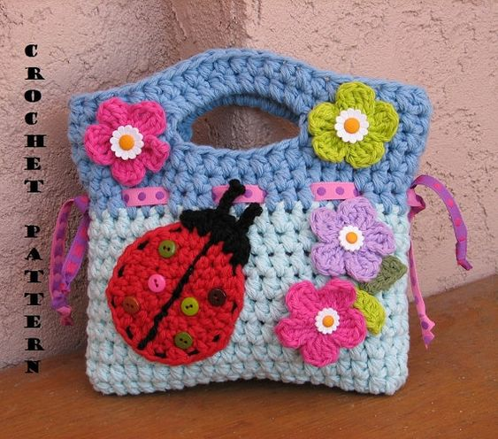 Easy Crochet Small Purse Patterns For Beginners : Girls Bag / Purse With Ladybug And Flowers , Crochet ...