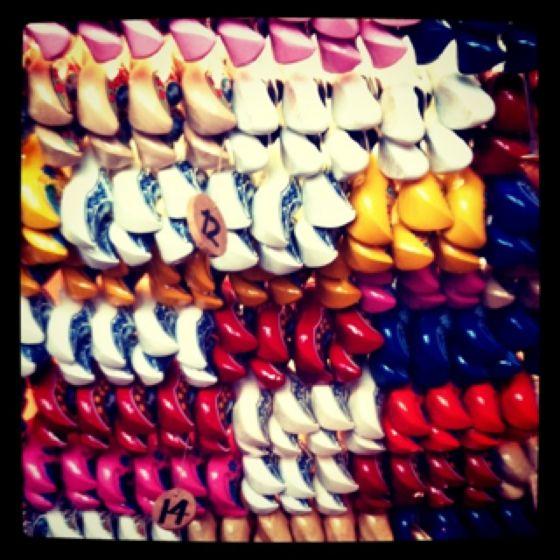A sea of clogs in a clog shop in Amsterdam