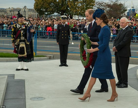 William and Kate laid a memorial wreath at the cenotaph in Victoria, pictured, to honour those who have died in service to Canada