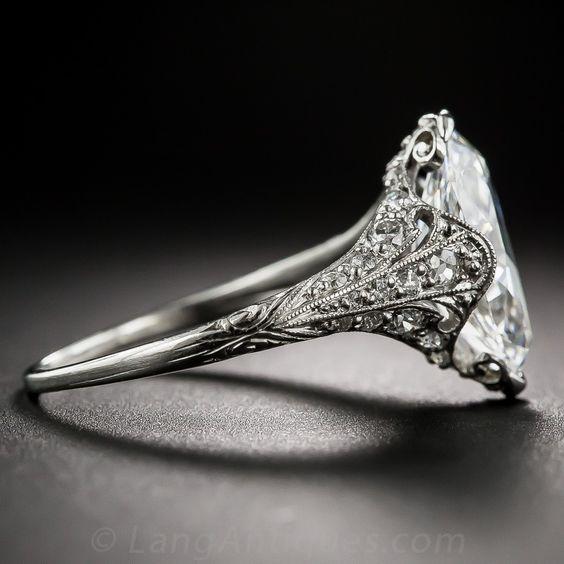 Tiffany & Co. 3.14 Carat 'Moval' Diamond Edwardian Ring - GIA F-VVS2 - Vintage Engagement Rings