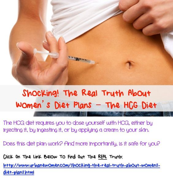 Shocking! The Real Truth About Women's Diet Plans - The HCG Diet: The HCG diet requires you to dose yourself with HCG, either by injecting it, by ingesting it, or by applying a cream to your skin. Does this diet plan work? And more importantly, is it safe for you?