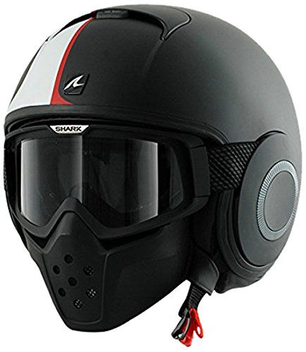 Shark RAW Stripe Helmet (Matte Black/White/Red, Large). Street Fighter inspired. Quick Release Goggle System and Face Mask. Double pane anti-fog lens. Lightweight and aerodynamic. 5 Year Warranty.