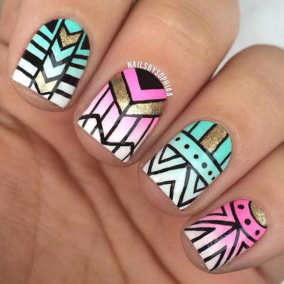 Gradient Turquoise & Pink Tribal Nail Design