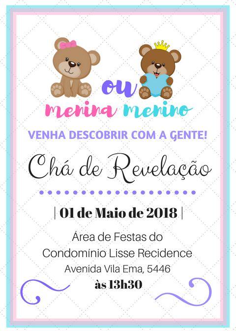 Convite Para Cha Revelacao Feito No Canva Com Convite Cha