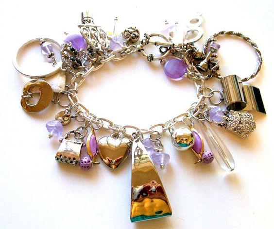 Charm Bracelet  Vintage Assemblage   Boho  Purple by BootsiesWorld, $54.99
