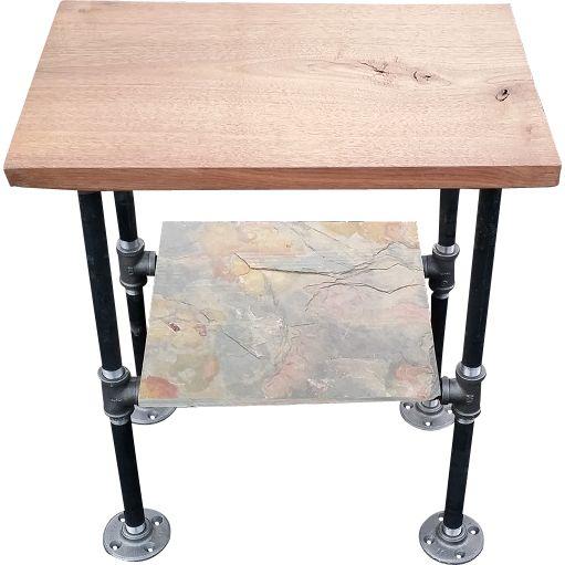 Reclaimed Wood End Table. Black Walnut. Slate Shelf (optional), Black Piping